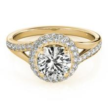 1.6 CTW Certified VS/SI Diamond Bridal Solitaire Halo Ring 18K Yellow Gold - REF#-390H9M - 26828