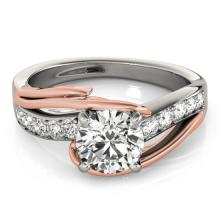 1.25 CTW Certified VS/SI Diamond Bypass Solitaire Ring 18K Two Tone Gold - REF#-398M9F - 27764