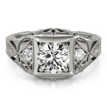 0.6 CTW Certified VS/SI Diamond Solitaire Bridal Ring 18K White Gold - REF#-119Y3M - 27237