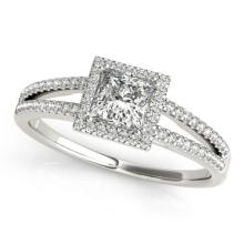 1.1 CTW Certified VS/SI Princess Diamond Bridal Solitaire Halo Ring 18K Gold - REF#-200A4X - 27150