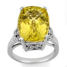 12.20 ctw Lemon Topaz & Diamond Ring 14K White Gold - REF#-60R4H - 10509