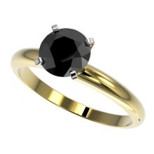 1.50 CTW Fancy Black VS Diamond Bridal Solitaire Engagment Ring Gold - REF#-44H2M - 32927