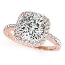 1.01 CTW Certified VS/SI Cushion Diamond Bridal Solitaire Halo Ring 18K Gold - REF#-222H2M - 27115