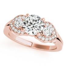 1.2 CTW Certified VS/SI Diamond 3 stone Bridal Solitaire Ring 18K Rose Gold - REF#-220F9V - 27982