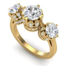 3.06 CTW VS/SI DIAMOND SOLITAIRE ART DECO 3 STONE RING 18K Gold - REF#-585W8G - 36850
