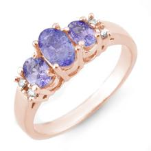 0.99 ctw Tanzanite & Diamond Ring 14K Rose Gold - REF#-32M7F - 10425