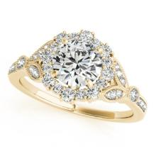1 CTW Certified VS/SI Diamond Bridal Solitaire Halo Ring 18K Yellow Gold Gold - REF#-139V3Y - 26532