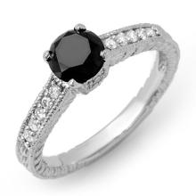 1.30 ctw VS Certified Black & White Diamond Solitaire Ring Gold - REF#-57W3G - 14030