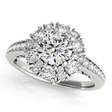 1.91 CTW Certified VS/SI Diamond Bridal Solitaire Halo Ring 18K White Gold - REF#-263T3K - 26727