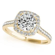 1.65 CTW Certified VS/SI Diamond Bridal Solitaire Halo Ring 18K Yellow Gold - REF#-501N3A - 26879
