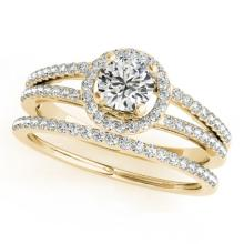 1.1 CTW Certified VS/SI Diamond 2pc Wedding Set Solitaire Halo 14K Gold - REF#-199W6G - 31078