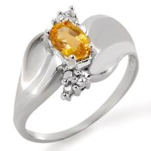 0.79 ctw Yellow Sapphire & Diamond Ring 18K White Gold - REF#-48R2H - 11418