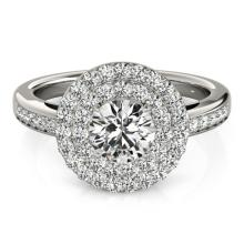 1.6 CTW Certified VS/SI Diamond Bridal Solitaire Halo Ring 18K White Gold Gold - REF#-234M4F - 26458