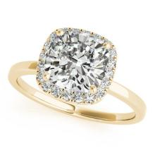 0.62 CTW Certified VS/SI Cushion Diamond Bridal Solitaire Halo Ring 18K Gold - REF#-140G4N - 27215