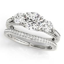 2.05 CTW Certified VS/SI Diamond 3 stone 2pc Wedding Set  14K Gold - REF#-447W3G-32021