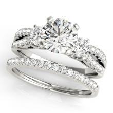 1.96 CTW Certified VS/SI Diamond 3 stone 2pc Wedding Set  14K Gold - REF#-521Y6M-32045