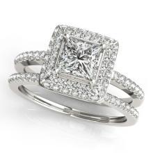 1.76 CTW Certified VS/SI Princess Diamond 2pc Set Solitaire Halo 14K Gold - REF#-444R2H-31355