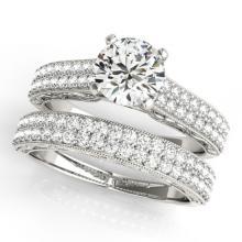 2.26 CTW Certified VS/SI Diamond Pave 2pc Set Solitaire Wedding  14K Gold - REF#-546X7T-32138