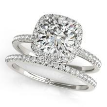 1.51 CTW Certified VS/SI Cushion Diamond 2pc Set Solitaire Halo 14K Gold - REF#-441X6T-31403