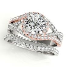 2.15 CTW Certified VS/SI Diamond 2pc Set Solitaire Halo 14K Two Tone Gold - REF#-581G6N-31015