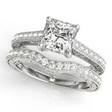 1.15 CTW Certified VS/SI Princess Diamond Solitaire 2pc Set 14K Gold - REF#-158H5M-31751