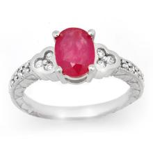 2.31 CTW Ruby & Diamond Ring 18K White Gold - REF-70A9N - 13979