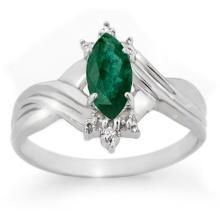 0.57 CTW Emerald & Diamond Ring 18K White Gold - REF-27A6X - 13603