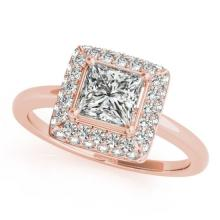 1.6 CTW Certified VS/SI Princess Diamond Solitaire Halo Ring 18K Rose Gold - REF-440M8H - 27166