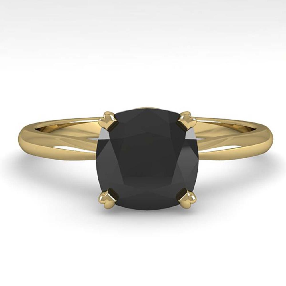 3.0 ctw Cushion Black Diamond Ring 18K Yellow Gold - REF-73K5W - SKU:32458