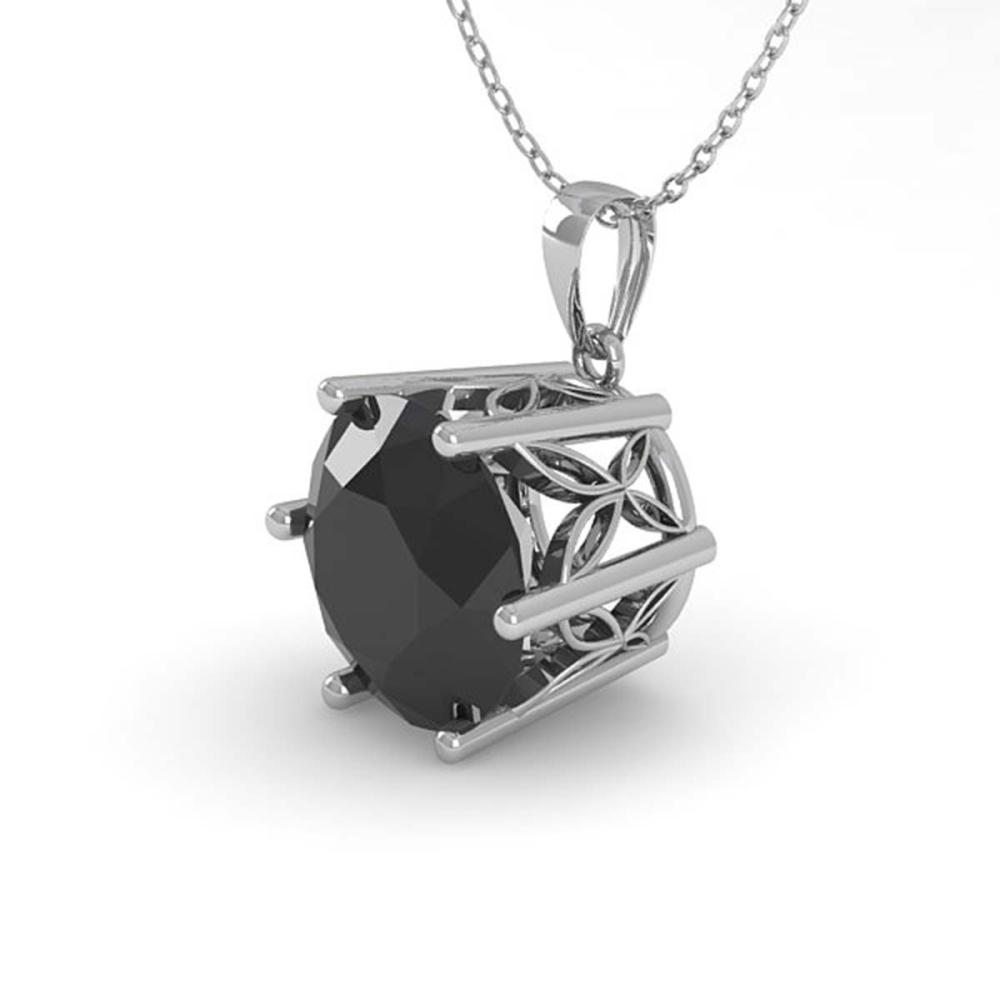 1 ctw Black Diamond Solitaire Necklace 18K White Gold - REF-34K6W - SKU:35874
