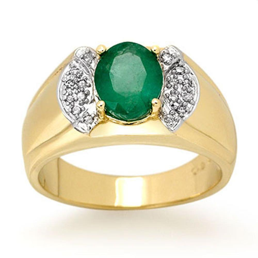 2.15 ctw Emerald & Diamond Men's Ring 10K Yellow Gold - REF-61K8W - SKU:13476
