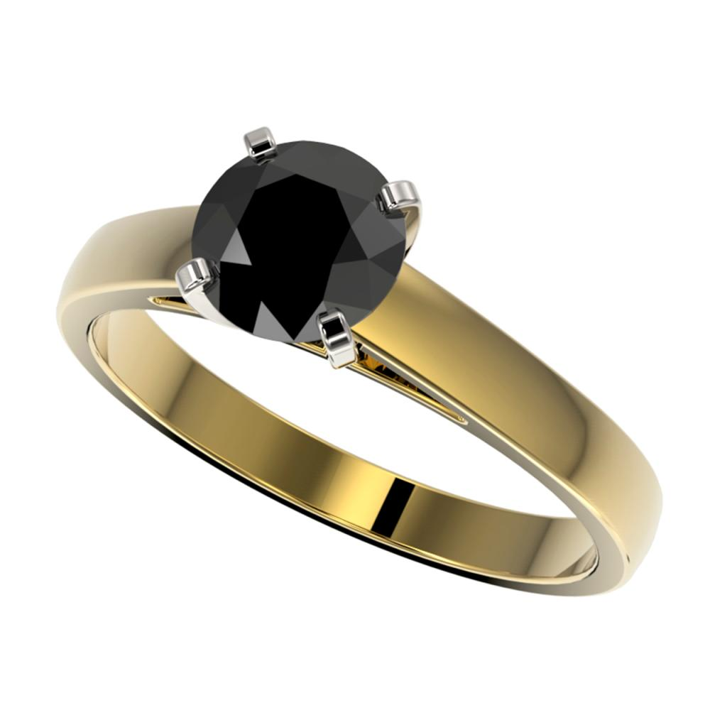 1.25 ctw Fancy Black Diamond Solitaire Ring 10K Yellow Gold - REF-32W5H - SKU:33005