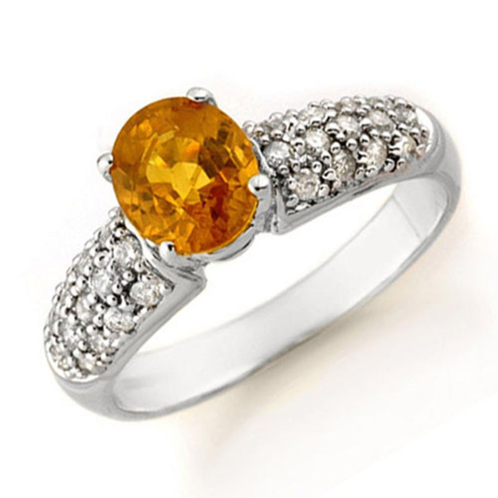 3.03 ctw Yellow Sapphire & Diamond Ring 14K White Gold - REF-74W9H - SKU:14364