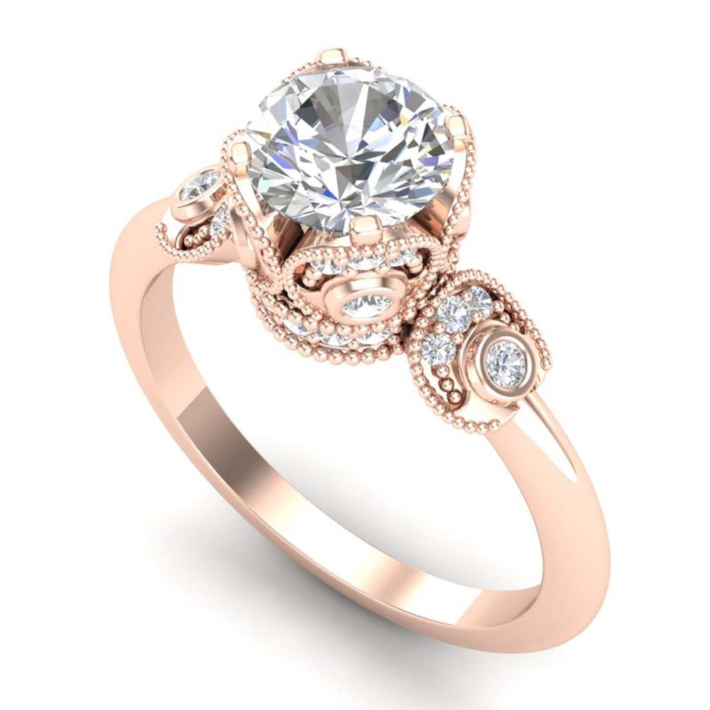 1.75 ctw VS/SI Diamond Solitaire Art Deco Ring 18K Rose Gold - REF-398R2K - SKU:36855