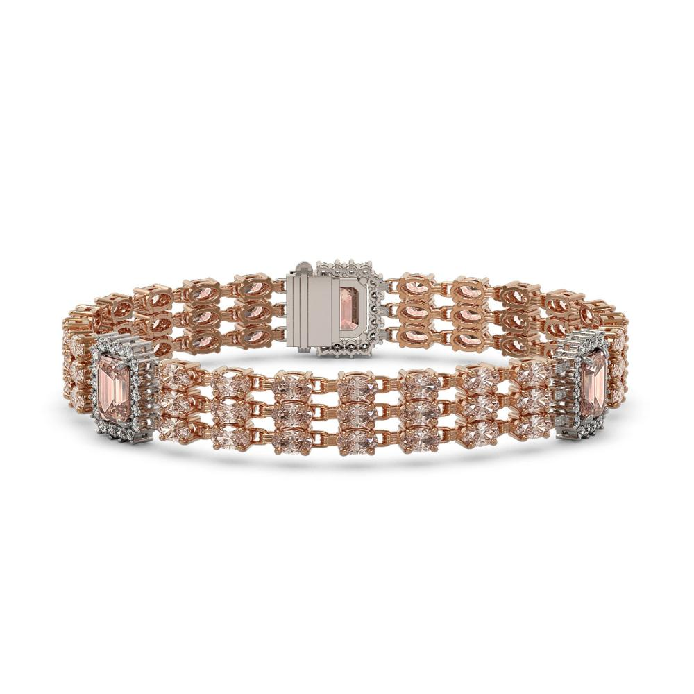 26.13 ctw Morganite & Diamond Bracelet 14K Rose Gold - REF-448W7H - SKU:45378