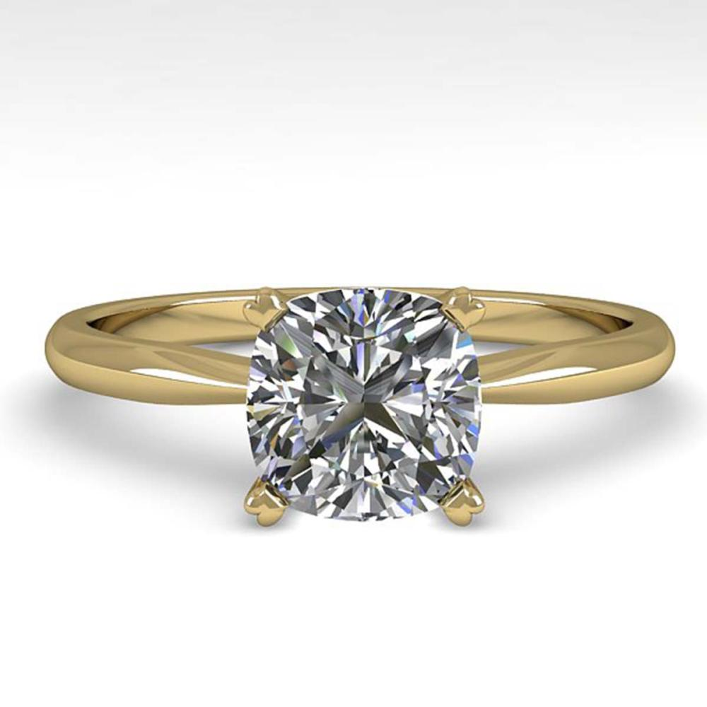 1 ctw VS/SI Cushion Cut Diamond Ring 18K Yellow Gold - REF-285W2H - SKU:32425