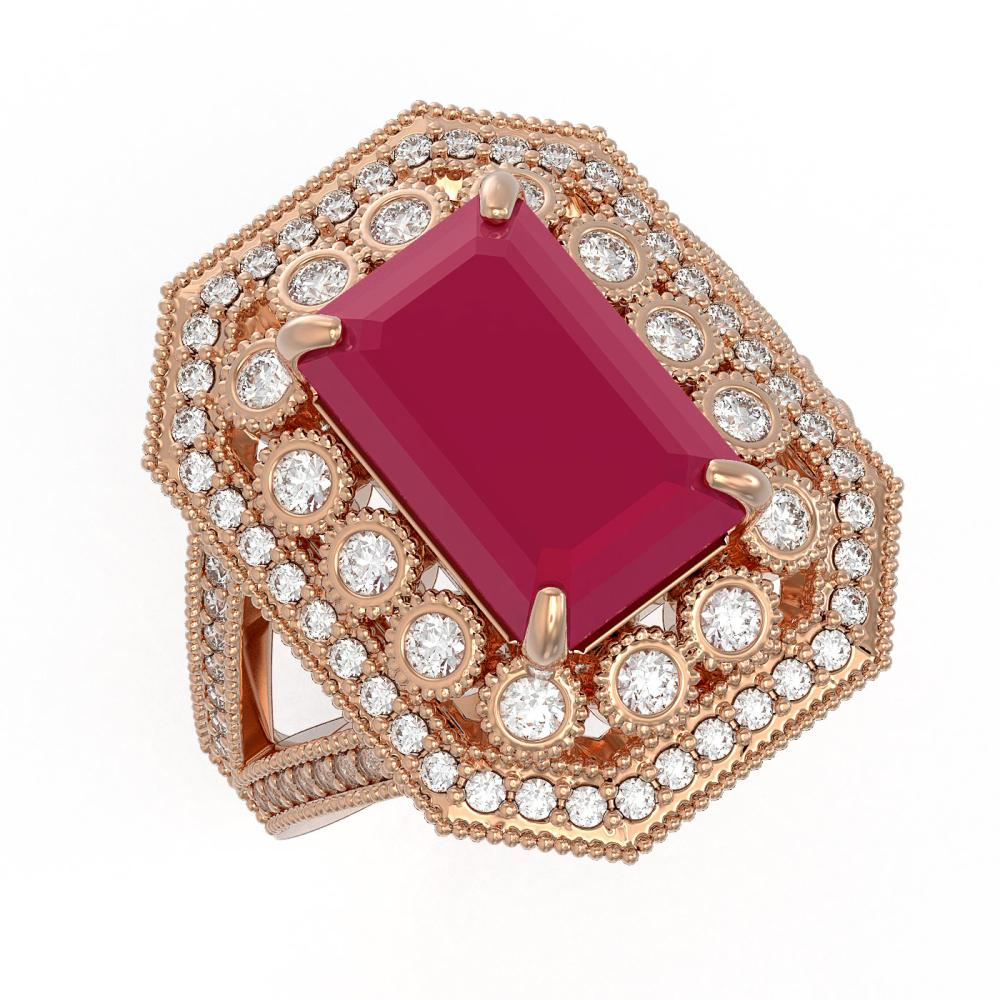 7.11 ctw Ruby & Diamond Ring 14K Rose Gold - REF-171W5H - SKU:43368