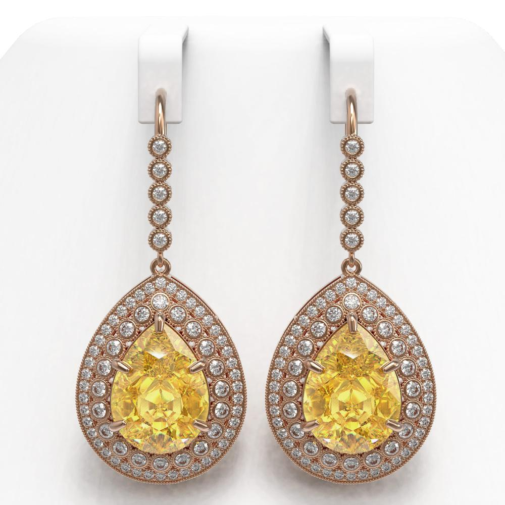 33.92 ctw Canary Citrine & Diamond Earrings 14K Rose Gold - REF-446W9H - SKU:43311