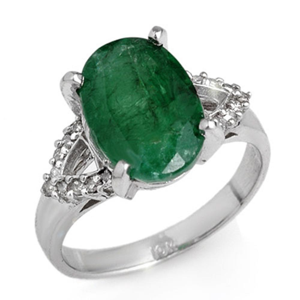 4.44 ctw Emerald & Diamond Ring 14K White Gold - REF-67A6V - SKU:12696