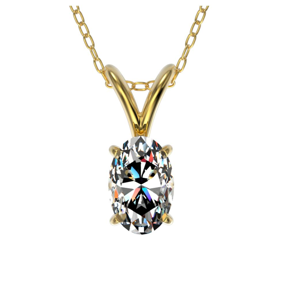 0.50 ctw VS/SI Oval Diamond Necklace 10K Yellow Gold - REF-79M5F - SKU:33165