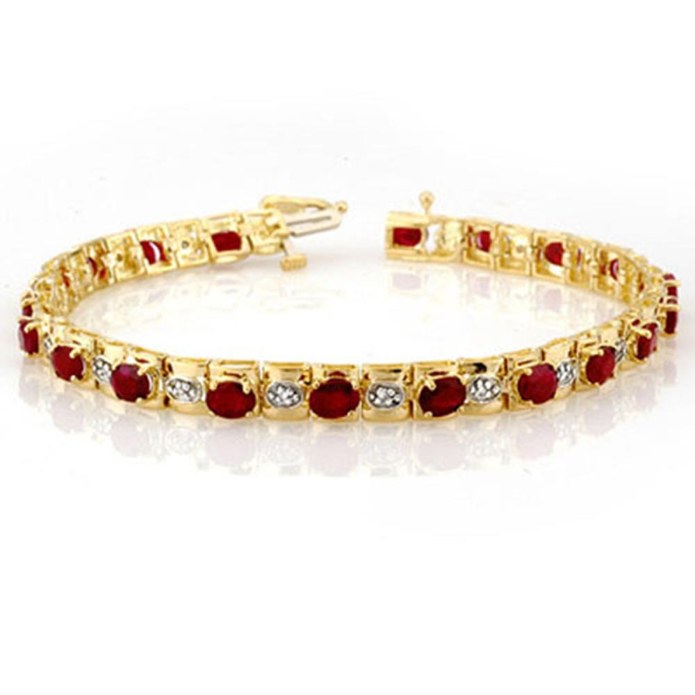 6.09 ctw Ruby & Diamond Bracelet 10K Yellow Gold - REF-94X5R - SKU:10590