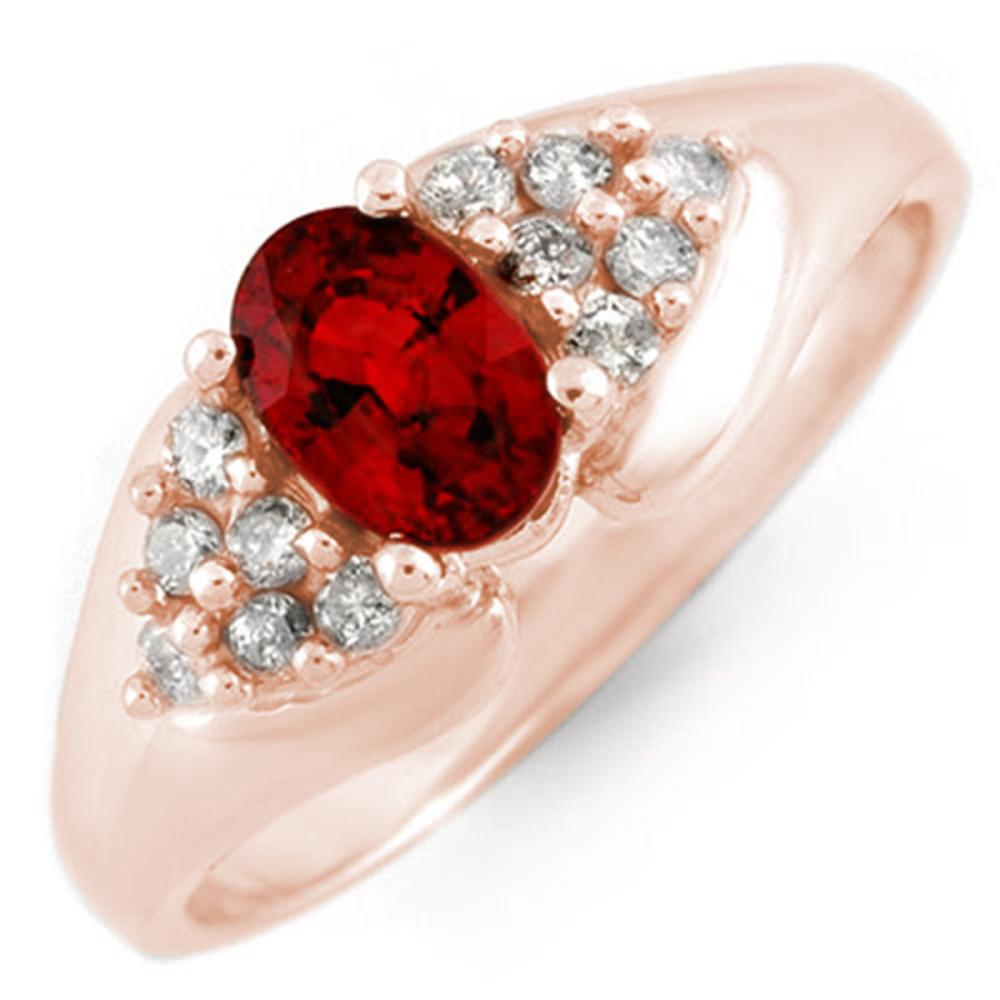 0.90 ctw Red Sapphire & Diamond Ring 14K Rose Gold - REF-34R5K - SKU:10880