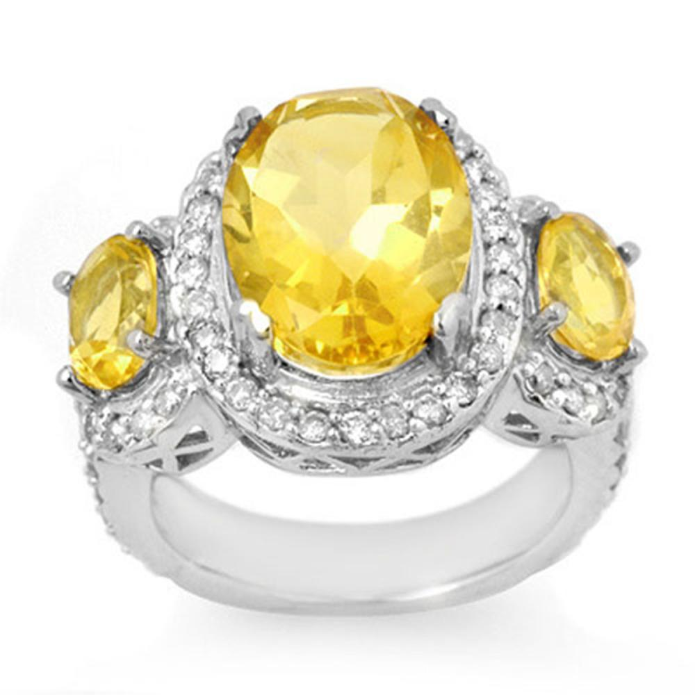 8.50 ctw Citrine & Diamond Ring 10K White Gold - REF-91M5F - SKU:10714