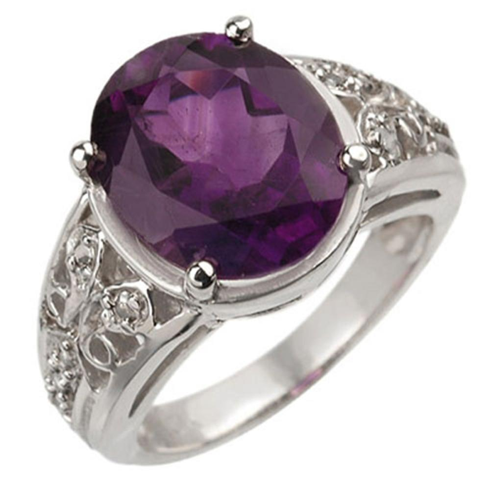 4.65 ctw Amethyst & Diamond Ring 10K White Gold - REF-38V7Y - SKU:10872
