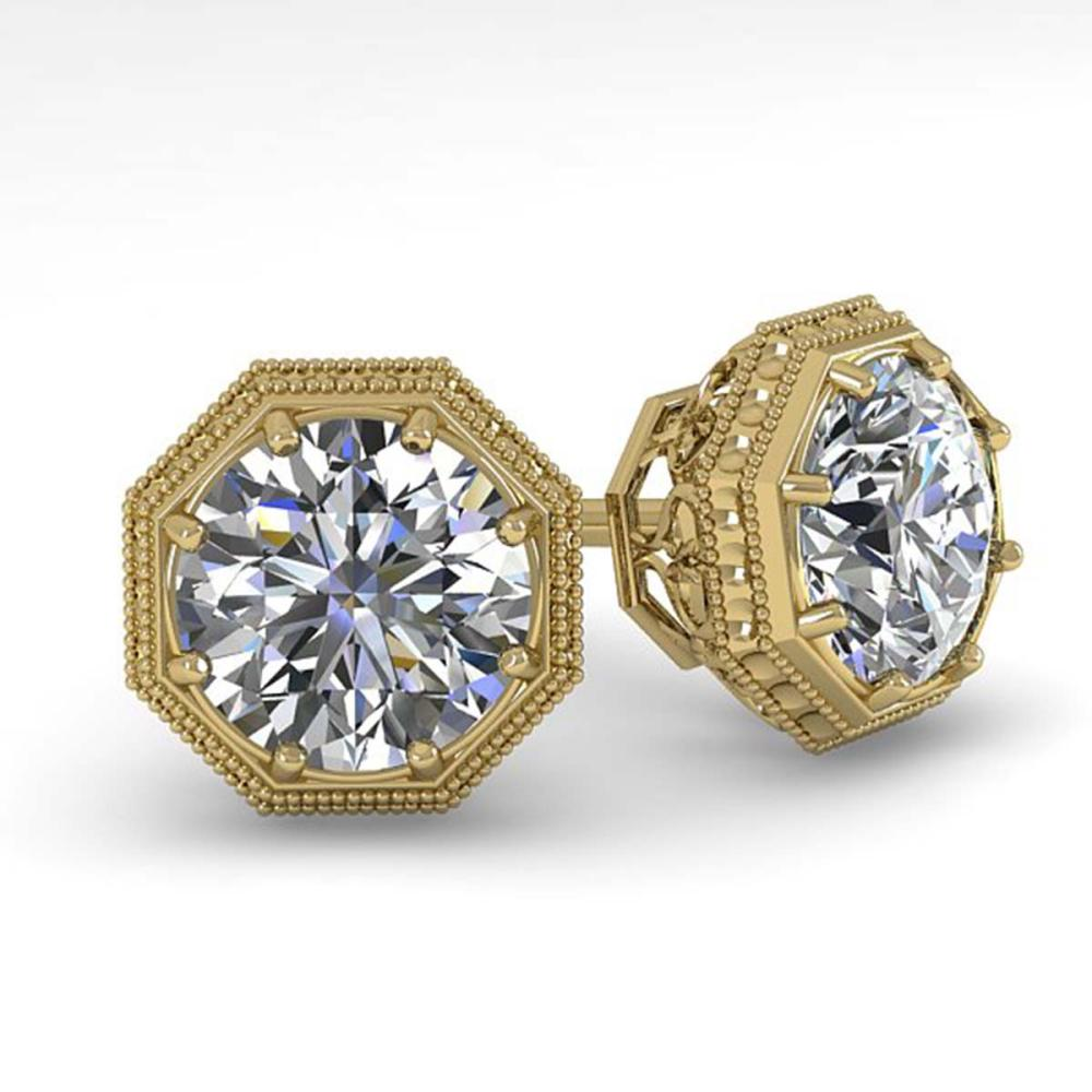 1.0 ctw VS/SI Diamond Stud Solitaire Earrings 18K Yellow Gold - REF-147V3Y - SKU:35950