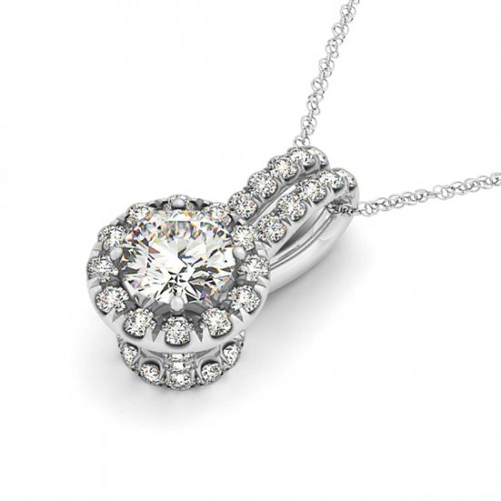0.91 ctw SI Diamond Halo Necklace 14K White Gold - REF-169W3H - SKU:30261