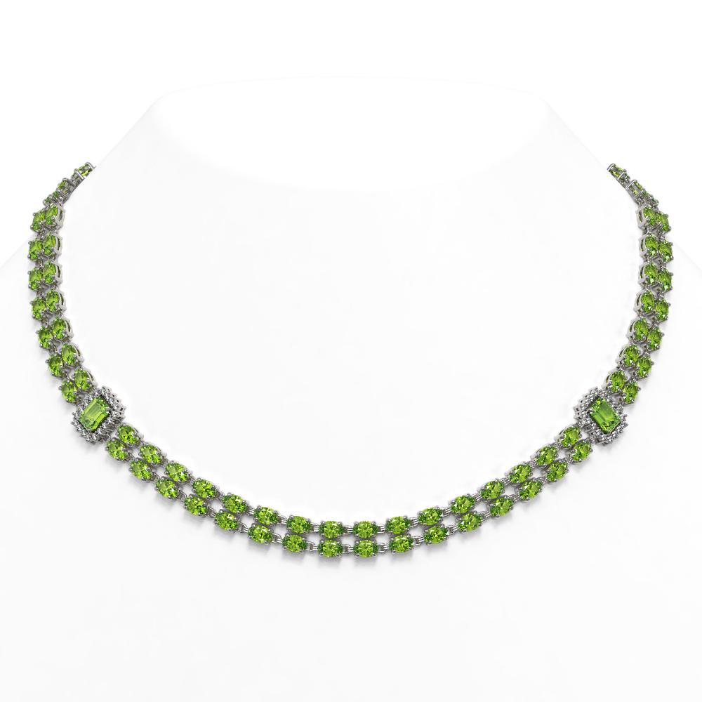 37.08 ctw Peridot & Diamond Necklace 14K White Gold - REF-423H3M - SKU:44993