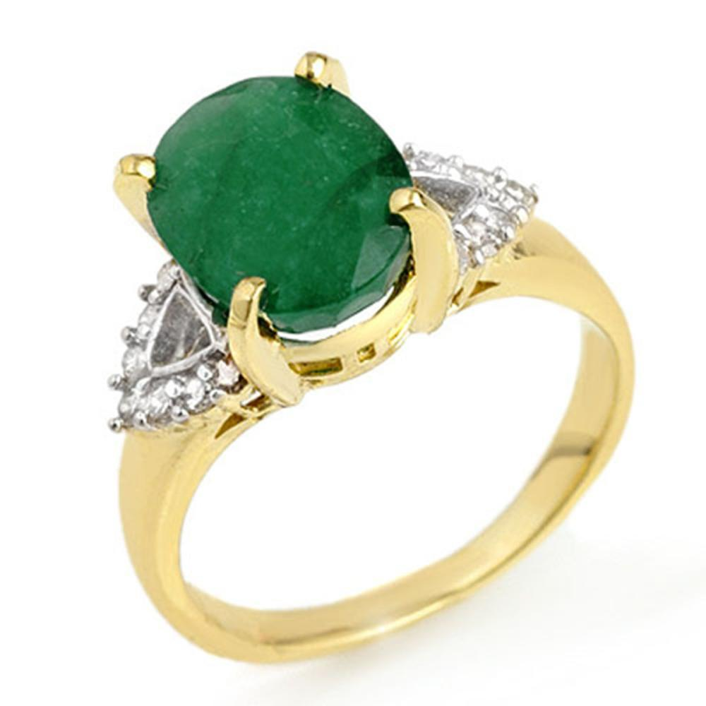 4.24 ctw Emerald & Diamond Ring 10K Yellow Gold - REF-60M9F - SKU:13033
