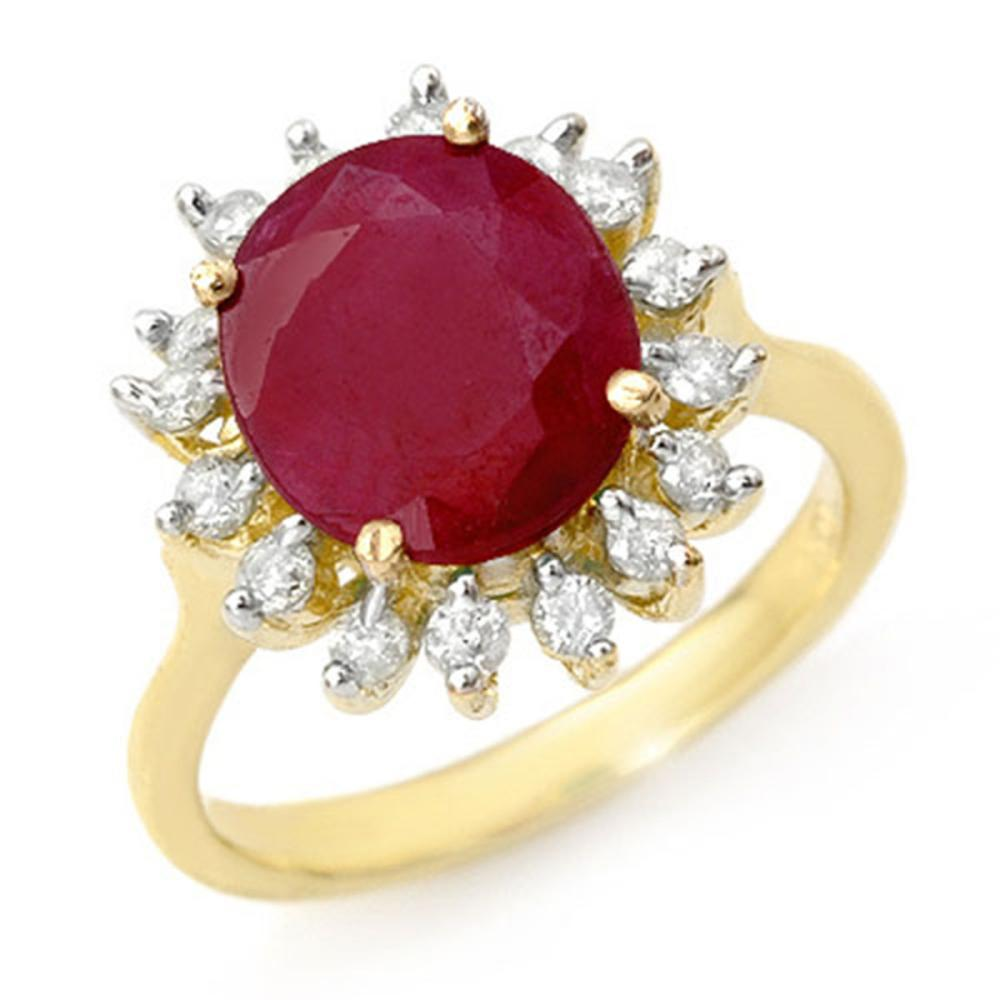 3.68 ctw Ruby & Diamond Ring 10K Yellow Gold - REF-70K2W - SKU:12709