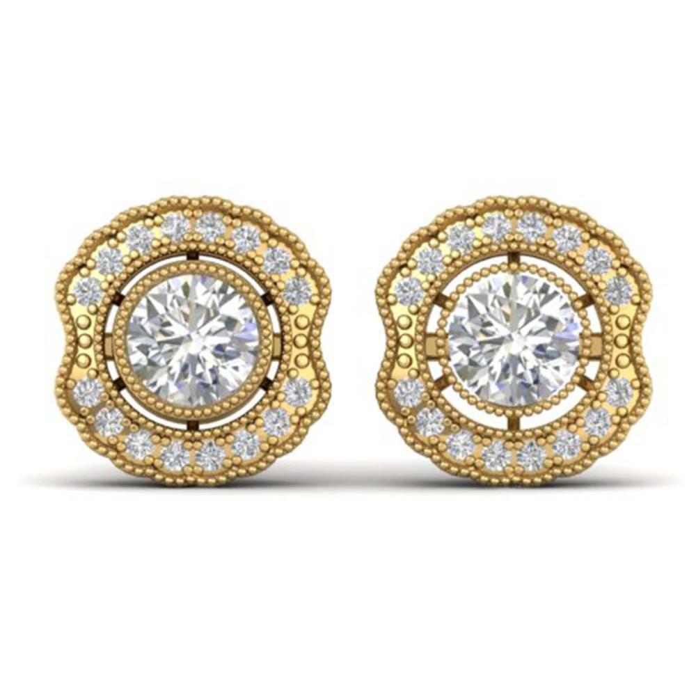 1.50 ctw VS/SI Diamond Art Deco Stud Earrings 14K Yellow Gold - REF-245W5H - SKU:30542
